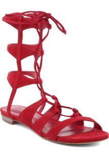 Sandália Gladiadora Com Amarração - Vermelhaschutz