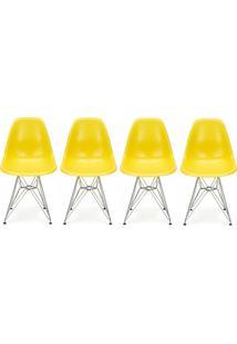 Conjunto 4 Cadeiras Eiffel Eames Dsr Amarela