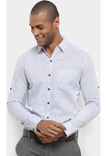 Camisa Manga Longa Jab Casual Estampada Mini Print Masculina - Masculino