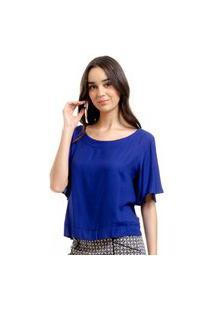 Blusa 101 Resort Wear Cropped Viscose Lisa Azul Marinho