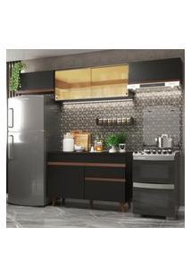 Cozinha Compacta Madesa Reims 260003 Com Armário E Balcáo - Preto Preto