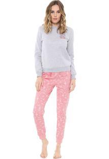 Pijama Malwee Liberta Galaxy Cinza/Rosa