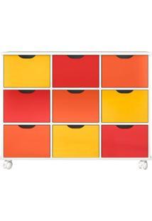 Nicho Organizador 108 X 83Cm Com 9 Gavetas Color E Rodízios - Qmovi