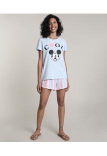 "Pijama Feminino Mickey ""Cool"" Manga Curta Azul Claro"