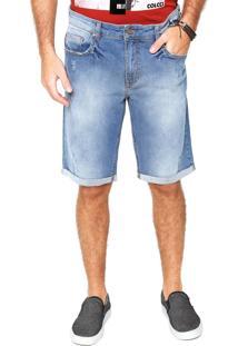 Bermuda Jeans Colcci Reta Estonada Azul