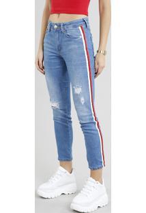 Calça Jeans Feminina Skinny Com Faixa Lateral Azul Claro