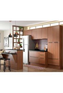 Cozinha Compacta 8 Peças Com Rodapé 5464R Calábria - Multimóveis - Nogueira