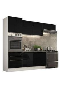 Cozinha Completa Madesa Lux Com Armário E Balcão 6 Portas 3 Gavetas Branco/Preto Branco