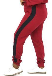 Calça Dpontes Moletom Faixa Lateral Plus Size Inverno Feminina - Unissex-Vermelho