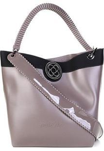 Bolsa Petite Jolie Shopper City Bag J.Lastic Ruber Feminina - Feminino-Cinza+Preto