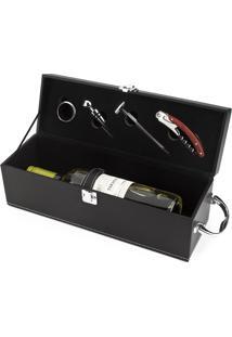 Kit Acessórios Hauskraft Para Vinho Em Estojo De Couro Prata / Preto