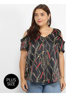 Blusa Lemise Open Shoulder Correntes Plus Size Feminina - Feminino-Preto