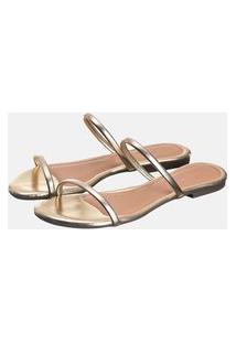Sandália Rasteira Feminina Bico Quadrado Dourada