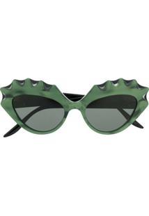 Gucci Eyewear Óculos De Sol Gatinho Com Detalhe Ondulado - Verde