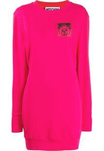 Moschino Vestido Com Patch De Logo - Rosa