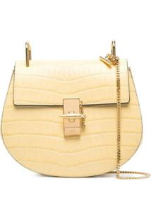 Chloé Drew Crocodile-Embossed Shoulder Bag - Amarelo