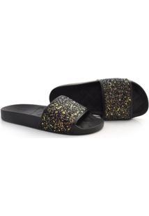 Chinelo Slide Com Glitter Moleca