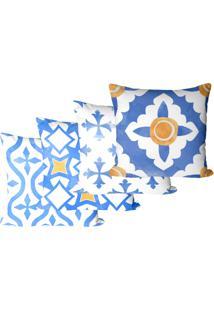 Kit Com 4 Capas Para Almofadas Decorativas Azulejos 45X45Cm - Azul - Dafiti