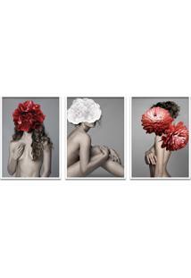 Quadro 60X120Cm Astra Mulher Com Flores Vermelha E Branca Moldura Branca Com Vidro