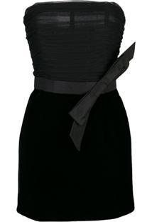 Saint Laurent Vestido De Veludo Com Laço - Preto