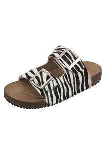 Sandália Birken Em Couro Ravy Store Pelo Zebra