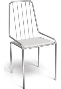 Cadeira De Jantar Benin Cromada Branco