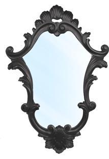 Espelho Clássico Verona Entalhado Resina Laca Preta Design De Luxo