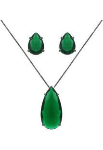 Conjunto Colar E Brinco Piuka Gota Zircônia Esmeralda Translucida Semijoia Em Ródio Negro - Feminino-Verde