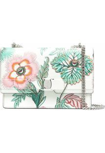 Salvatore Ferragamo Logo-Print Floral-Print Shoulder Bag - Verde