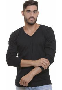 Camiseta Decote V Manga Longa - Masculino-Preto
