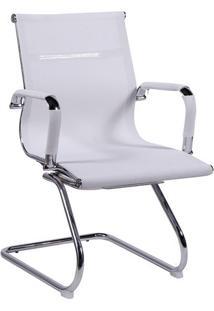 Jogo De Cadeiras Office Eames Tela- Branco & Prateado
