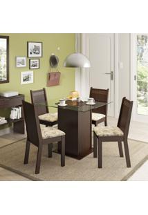 Conjunto De Mesa Com 4 Cadeiras Lucy Tabaco E Lírio Bege