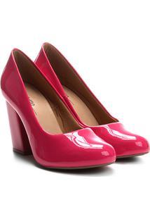 Scarpin Griffe Salto Alto Verniz - Feminino-Pink
