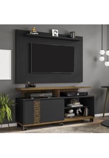 Rack Com Painel Para Tv Até 50 Polegadas Cairo Preto Fosco/Marrom - Pnr Móveis