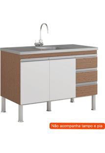 Balcão De Cozinha Ibiza 2 Pt 3 Gv Amêndoa E Branco