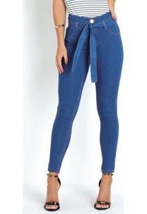 Calça Jeans Clochard Com Amarração Sawary