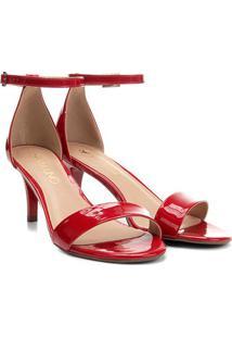 Sandália Via Uno Salto Fino Verniz Feminina - Feminino-Vermelho