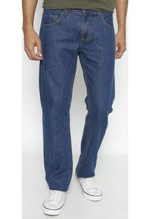 Jeans Reto Paul Regular Com Zã­Per- Azul- Forumforum