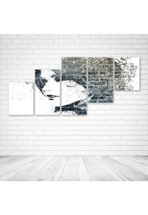 Quadro Decorativo - Urban Art Face - Composto De 5 Quadros