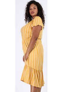 Vestido Feminino Plus Size Midi Listrado Com Recorte Manga Curta Amarelo