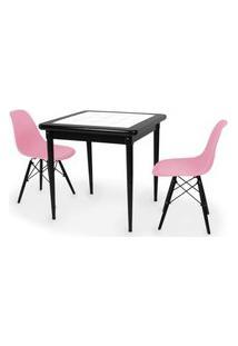 Conjunto Mesa De Jantar Em Madeira Preto Prime Com Azulejo + 2 Cadeiras Eames Eiffel - Rosa