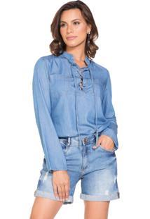 Blusa Jeans Lúcia Figueredo Manga Longa Azul
