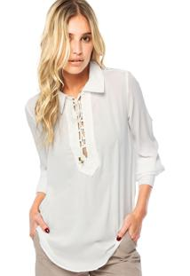 Camisa Lança Perfume Alongada Detalhe Branca