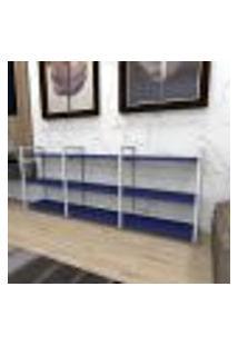 Estante Industrial Aço Cor Branco 180X30X68Cm (C)X(L)X(A) Cor Mdf Azul Modelo Ind35Azest