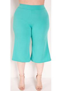 Calça Pantacourt Turquesa Com Textura Plus Size