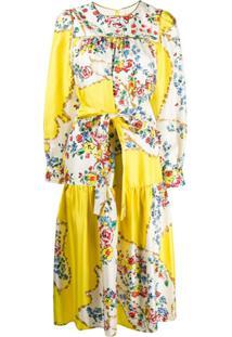 Tory Burch Vestido Matelassê Com Estampa Floral - Amarelo