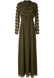 Olympiah Vestido Longo Damasco Com Babados - Verde