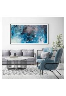 Quadro Com Moldura Chanfrada Abstrato Azul Com Cinza 40X100