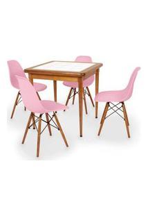 Conjunto Mesa De Jantar Em Madeira Imbuia Com Azulejo + 4 Cadeiras Eames Eiffel - Rosa