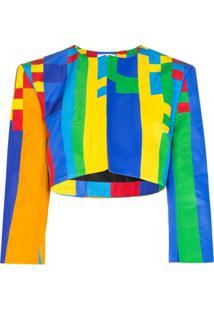 Halpern Jaqueta Cropped Com Estampa Pixel - Multicoloured